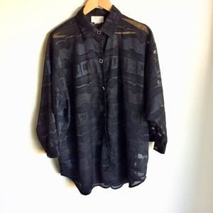 Black Oversized Shirt Multi Texture Fabric  Size M